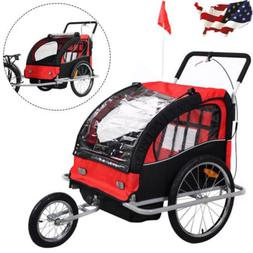 2 in 1 Double Bike Trailer Bicycle Carrier Baby Jogger Strol