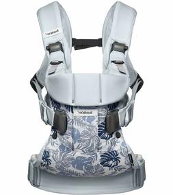 BABYBJORN Baby Carrier One - Leaf Print / Pale Blue Cotton