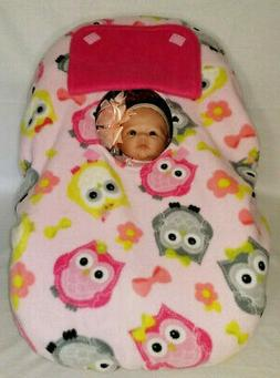 CarSeat Cover Pink Owls Baby Girl Cozy Infant Carrier With P