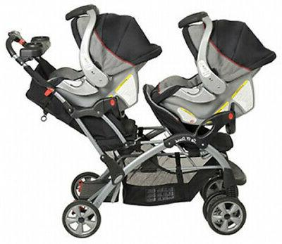 Double Baby Stroller Twin City Tandem Infant Car Seat Carrier Travel Carriage